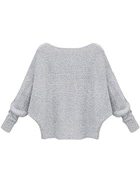 ZKOO Mujer Jersey Invierno de Punto Sweater con Manga murcielago Sueter Flojo Pullover Color Sólido