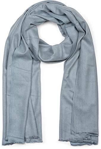 styleBREAKER weicher Stola Schal in Unifarben mit Fransen, Tuch, Unisex 01017070, Farbe:Grau-Blau