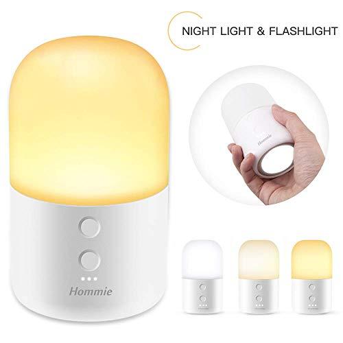 Veilleuse Enfant LED, Hommie Veilleuse Bébé avec Lampe de Poche Couleur et Luminosité Réglable Contrôle Tactile Lampe de Chevet Rechargeable en ABS+PC avec Longue Autonomie Max jusqu'à 150H