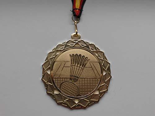 Fanshop Lünen Medaillen - Große Stahl 70mm - Gold - Badminton - Federball - Medaille - mit Alu Emblem 50mm - (Gold) - mit Medaillen-Band - (e111) -