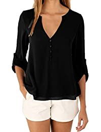 ISASSY Chemisier Femme Manches Longues 3/4 Tunique Uni Col V Top Haut T-shirt
