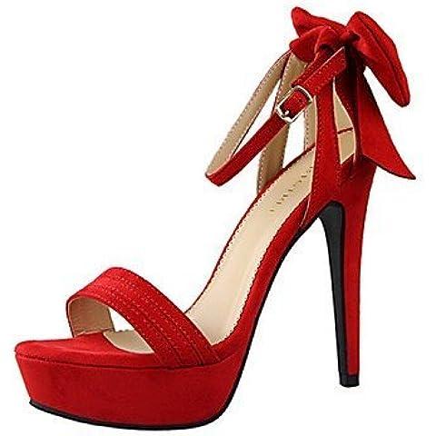 LFNLYX Scarpe Donna-Sandali-Casual-Tacchi-A stiletto-Velluto-Nero / Rosa / Rosso / Arancione / Kaki , red , us6.5-7 / eu37 / uk4.5-5 / cn37
