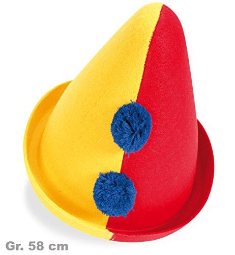Clownhut Clown Hut gelb/rot 2-farbig mit Quasten ca. 58 cm Party Feier (Clown Mini Hut Melone)