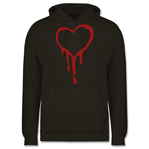 Symbole - Blutendes Herz - bloody heart - Männer Premium Kapuzenpullover / Hoodie Olivgrün