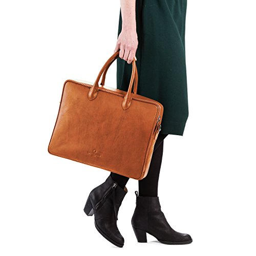 OFFERMANN Aktentasche Handtasche aus Leder inklusive 15 Zoll Laptopfach for Women Workbag Slim 9 Liter Cognac