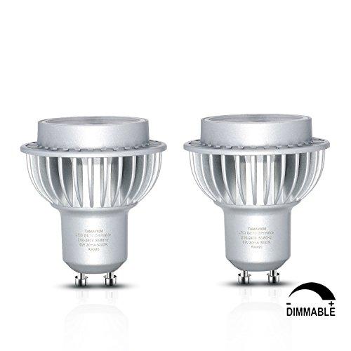 Keine 70 Twin Pack-licht (TAMAYKIM 6W GU10 LED Twin Pack Spot Lights , Tageslichtweiß 5000K Dimmable GU10 LED Lampen, ersetzt 60W Halogenlampen 120° Abstrahwinkel LED Birnen Leuchtmittel 600LM,2er-Pack)