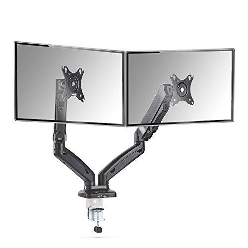 """Moniteur LCD VonHaus - Support à double bras pour écran LCD LCD 13""""-27""""   Rotation de 360 °, inclinaison de ±90°, pivotement de ±90° et bras pivotant de 180°   Max VESA 100x100"""