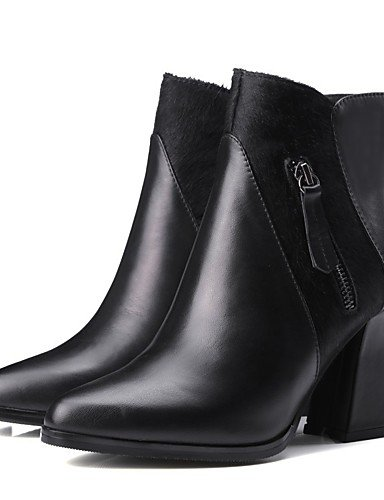 CU@EY Da donna-Stivaletti-Casual-Anfibi-Quadrato-Di pelle-Nero black-us6.5-7 / eu37 / uk4.5-5 / cn37