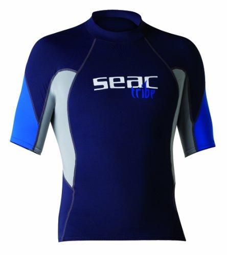 Seac Herren RAA Short EVO Rash Guard Uv-Schutz-Shirt Zum Schnorcheln Und Schwimmen Kurzarm, Blau/Hellblau, XL (Hosen Lycra Herren)