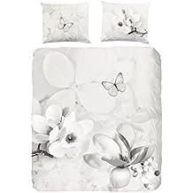 Descanso para cama de matrimonio algodón 100 por ciento/raso de funda de edredón y de mariposa, Multi-color