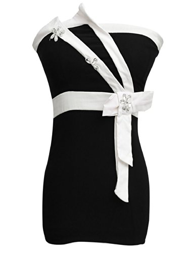 sourcingmap® Robe femmes Bowknot Dentelle Accent Mini Buste Robe Corset Black