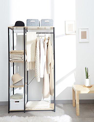 Suhu Kleiderschrank Garderobenschrank Garderobenständer Kleiderständer  Kleiderstange Holz Stabil Modern Eiche Stahl Garderobe Hängeregal ...