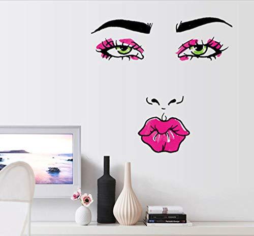 enbraue Wandaufkleber Augen Schönheit Wandtattoo Rote Lippen Wandaufkleber Schlafzimmer Dekoration Zubehör Modern ()