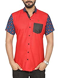 PP Shirts Men Red Coloured Shirt With Printed Sleeve