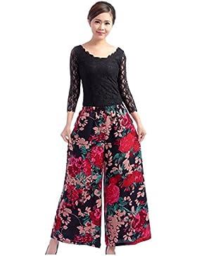 CTOOO Mujeres De Algodón De Lino Del Tamaño Extra Grande Irregulares Pantalones De Imprimir Pierna Ancha