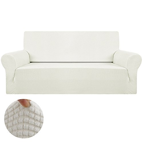 Interlink-UK Sofabezug Sofahusse Elastisch Stretch Jacquard aus Rutschfest Material Elegant (Elfenbein-Weiß, 2 Sitzer 145-185cm)
