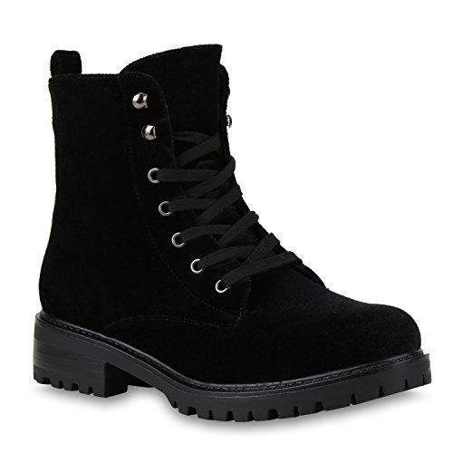Damen Stiefeletten Worker Boots Samtoptik Schnürstiefel Schuhe Schwarz