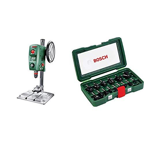 Bosch PBD 40 - Taladro de columna (710 W, caja de cartón) + Bosch 2607019469 - Pack de 15 fresas con inserción de 8 mm