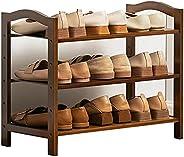 رف احذية مقاس 80 سم/ 31.5 انش مصنوع من الخيزران بمنظم تخزين للاحذية من 3 طوابق للردهة