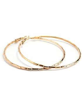 2LIVEfor Goldene Ohrringe Creolen Gold Hoop Earrings quadratisch Struktur eckig Ohrhänger Hoops Creolen Groß Gold...