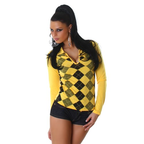 Jela London Damen Langarm-Shirt Karo-Rauten Größen 34-36 und 38-40 verschiedene Farben Gelb