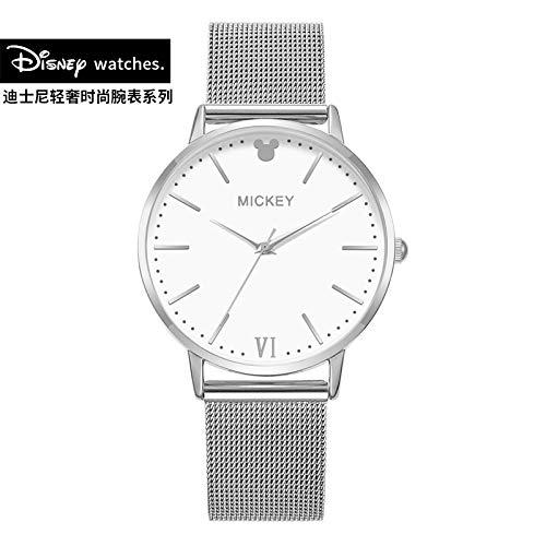 Quarz-Uhr für Damen mit Netzgurt Weißes rundes Zifferblatt Wasserdichte Mode Damenuhr, Silber