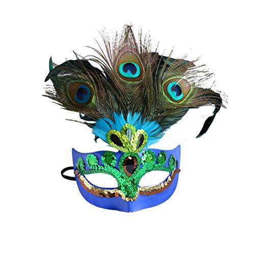 BESTOYARD 2 STÜCKE Spaß Kreative Weihnachten Pfau Kostüm Maske für Kinder Erwachsene Cosplay Weihnachtsfeier (Blau)