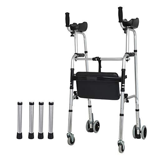 HENGYE Standard Walkers, ältere Menschen faltbar Walker, Assist ausgestattet Räder ausgestattet mit Arm Rest Pad für die begrenzte Mobilität mit Behinderten, FourWheels + Sitze,2 - Walker Rest Sitz