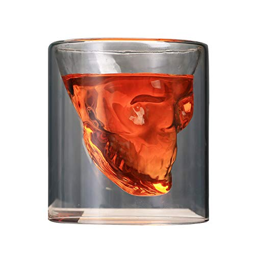 istall Totenkopf Kaffeetasse Glas Wein Bier Becher Teetasse transparent (250 ml/2er-Set), Borosilikatglas, durchsichtig, 250 ml ()