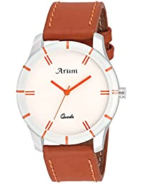 Arum White Dial Round Shaped With Leather Strap Fashion Trendy Wrist Watch For Men's And Boy's
