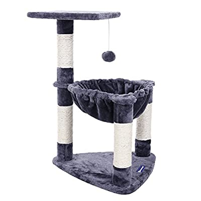 SONGMICS Cat Tree with Sisal Scratching Posts Cat Activity Centre in Grey PCT83G
