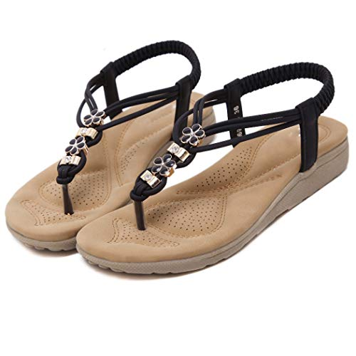 Frauen böhmischen T-Strap Flache Sandalen Slip on Gummiband Thong Flip Flops Sommer Strand Sandale Vince Wrap