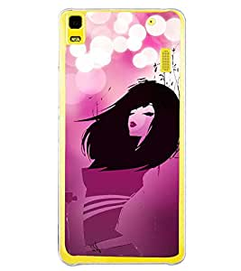 Fuson Pink Love Fashion Girl Designer Back Case Cover for Lenovo A7000 :: Lenovo A7000 Plus :: Lenovo K3 Note (Abstact Art Paint Painting Illustrations)