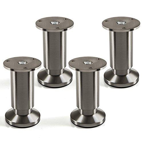 4er Set Möbelfüße verstellbar Schrankbeine Edelstahloptik gebürstet, belastbar bis 250 Kg, Höhe: 100 mm von SO-TECH