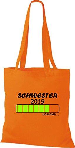 ShirtInStyle Stoffbeutel Baumwolltasche Loading SCHWESTER 2019 Orange