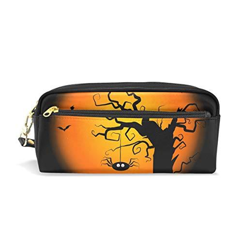 Bennigiry Federmäppchen mit Halloween-Baum, PU-Leder, große Kapazität, für Schule, Stifttasche, Make-up-Tasche für Studenten oder Frauen