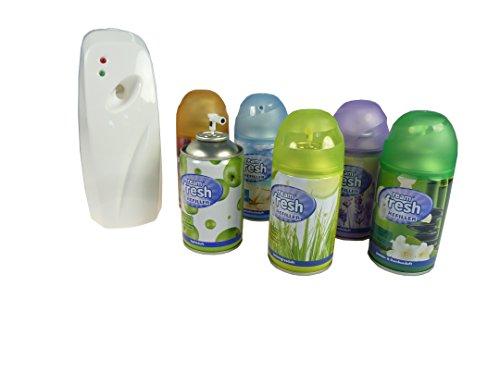 Duftspray Automat mit Timer inkl. 6 Nachfüller, Lufterfrischer, Raumduft, Raumerfrischer, automatischer Lufterfrischer, Duftspender
