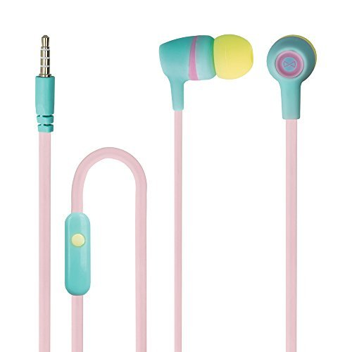Forever Stereo Kopfhörer Juicy In-Ear Headset mit Mikrophon 3,5 mm Aux Farbe: Rosa-Grün-Gelb