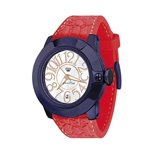 Glam Rock Women's Sobe 44mm Red Silicone Band IP Steel Case Swiss Quartz White Dial Analog Watch GR32031A
