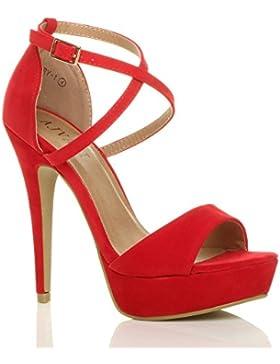 Donna tacco alto fibbia cinturini incrociati scarpe punta aperta sandali taglia