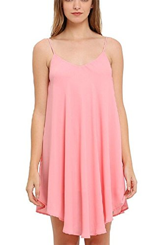 Wealsex Damen Harness Halfter Damenkleider VAusschnitt Chiffon Rock Strap  Strandkleid Sommerkleid Pink