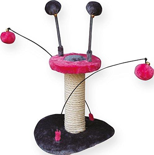 PeSoBo Kratzbaum pink/grau Katzenspielzeug Angel Kratzspielzeug Katzen Spielzeug mini Kratzbaum