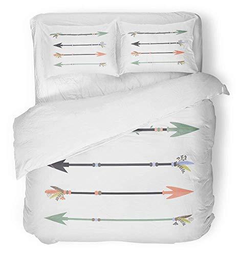 LnimioAOX Apache 3-teiliger atmungsaktiver Bettbezug aus gebürsteter Mikrofaser, 4er-Set, naturbelassene Pfeile auf einem Tribal Arch-Schießbogen, mit weißen Pfeilen und Bezügen