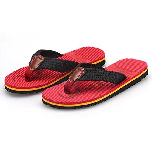 Vermelho Homens Flops Chengyang Ar Modo Chinelos Sandálias Ao Plana Livre De Virar Chinelos Praia A4caO