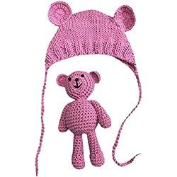 Vovotrade Conjunto Bebé Recién Nacido Fotografía Prop Foto Crochet Oso del traje del traje + Sombrero, 0-9 meses (Rosa caliente)