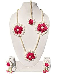 Pink And White Jewellery Set With Earrings And Mangtika For Women & Girls