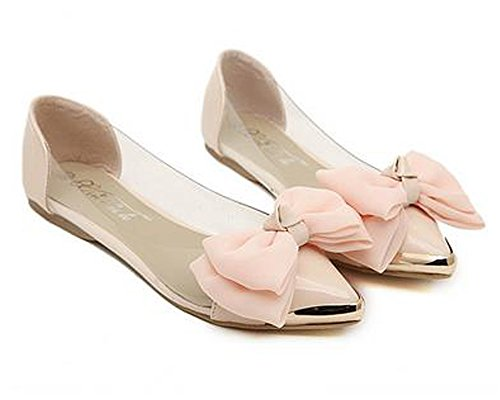 Minetom Damen Mädchen Transparente Folie Schuhe Süßen Stil Spitz Zehe Schuhe Mit Bowknot Beige 37 m0hEyd2S