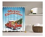 Gnzoe Polyester Bad Vorhang Auto Geladen Weihnachtsbaum Muster Design Badewanne Vorhang Mehrfarbig für Badezimmer/Badewanne 180x180CM