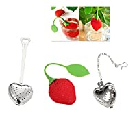 Eco-friendly Tea Infuser Strainer Variety Pack by JERN (3 Pcs include: Heart shaped tea infuser with stick, Heart shaped tea infuser with chain, Strawberry tea infuser)