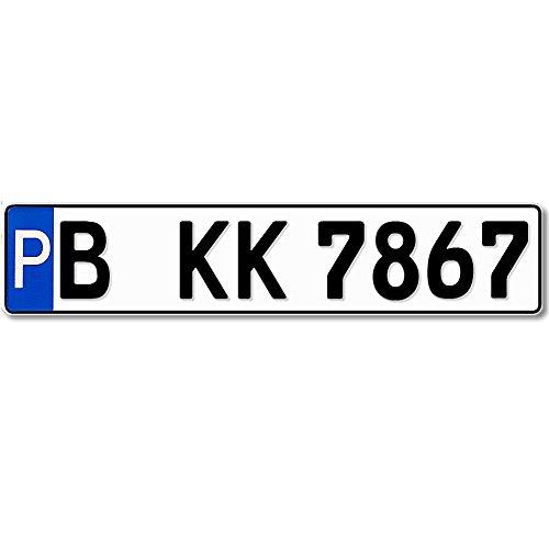 Parkplatzschild KFZ-Kennzeichen 520 x 110 mm, reflektierend, Wunschkennzeichen, Wunschtext, Namen oder Str./Hausnr. - Parkplatz Schild